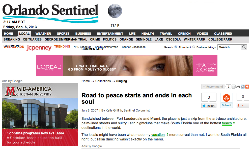 Road to peace starts and ends in each soul Orlando Sentinel_part1