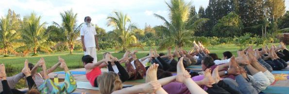 Yoga on the deck at Yoga Day with Yogi Hari